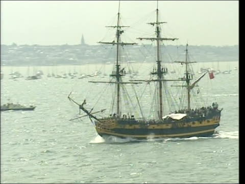 portsmouth variety of naval vessels from all over the world gathered in solent for reenactment of battle of trafalgar to mark 200 years since horatio... - historical reenactment stock videos and b-roll footage
