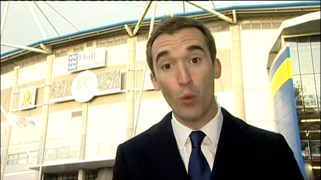Portsmouth FC rescue deal Kingston upon Hull KC Stadium Reporter to camera