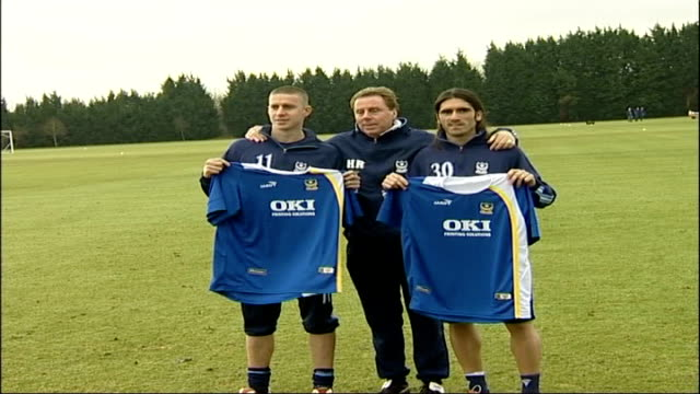 portsmouth fc sign three former tottenham players england hampshire portsmouth ext harry redknapp posing for photocall with former tottenham hotspur... - tottenham hotspur f.c stock videos & royalty-free footage