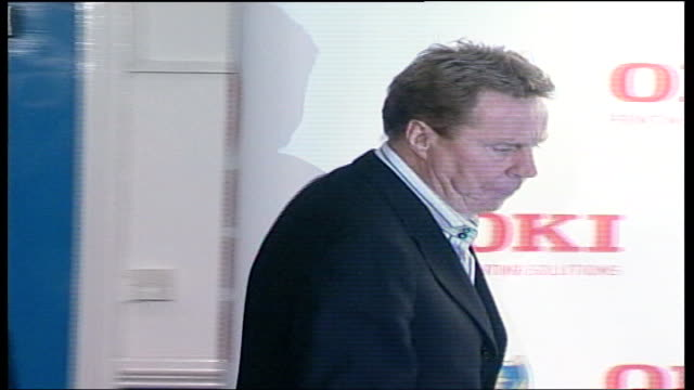 new joint owner file / tx england portsmouth fratton park int milan mandaric and harry redknapp into press conference pan - ハリー レッドナップ点の映像素材/bロール