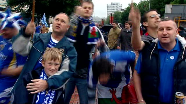 portsmouth win fa cup final; location unknown: int coach cardiff city supporters on coach chanting slogans sot inflatable blue sheep in coach window... - final round stock videos & royalty-free footage