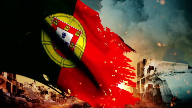 4k portugal flag - crisis / war / fire (loop) - firefighter stock videos and b-roll footage