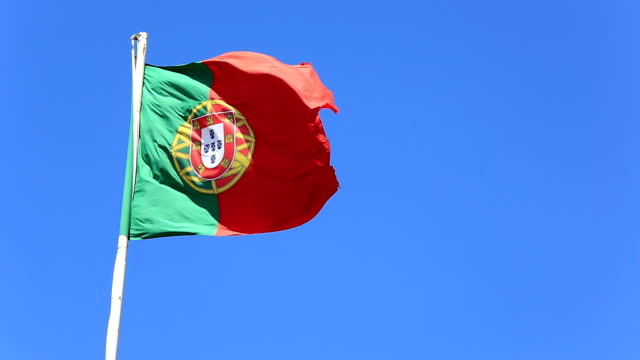 HD: Portugal Flag Flying in the wind