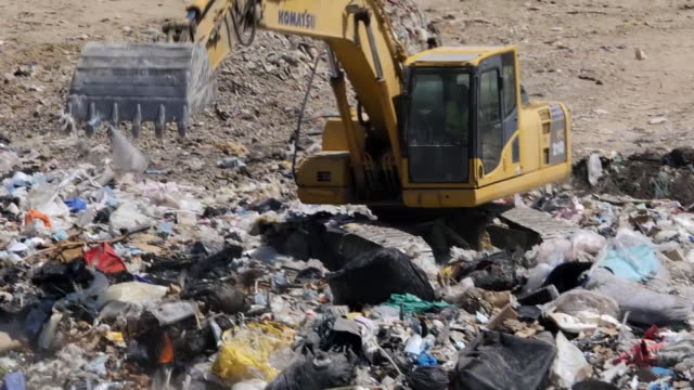 portugal imports more rubbish that almost any other country in europe. shows: drone aerials and ground shots of a large landfill waste site, valongo... - soptipp bildbanksvideor och videomaterial från bakom kulisserna