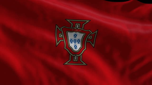 portugal national soccer team flag waving. computer generated animation for editorial use. seamlessly looped and close up. - loopable moving image stock videos & royalty-free footage