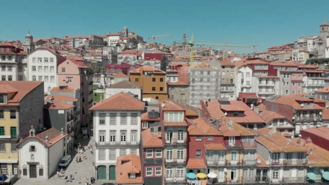 portugal porto aerial 4k drone footage of the porto and gaia cityscape on a clear sky summer day. - porto district portugal stock videos & royalty-free footage