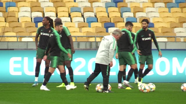 portugal team players attend a trainning session at the olimpiyskiy stadium in kiev, ukraine, on 13 october 2019. national teams of ukraine and... - national team stock videos & royalty-free footage