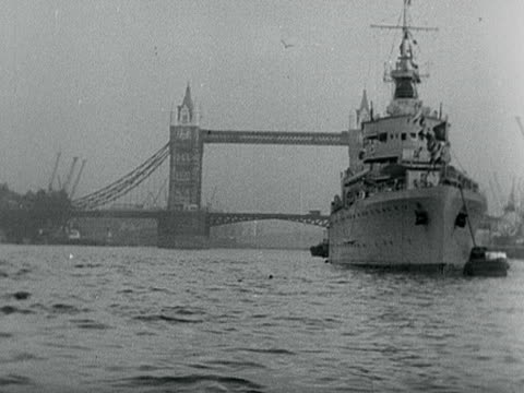 portugese battleship is moored near tower bridge. - 1899 stock videos & royalty-free footage
