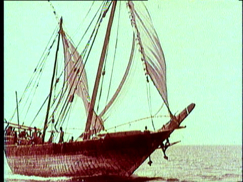 1965 REENACTMENT MONTAGE WS Portugese caravel ship sailing on the ocean