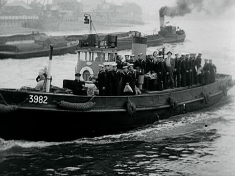 portugese sailors return to their ship via a tug boat - 1899 stock videos & royalty-free footage