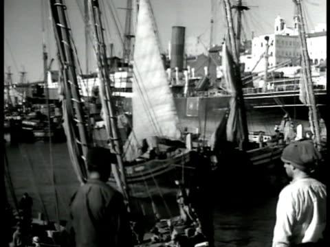 vidéos et rushes de portuguese dock sail boats buildings dock workers men standing. rows of boats sail boats women w/ basket on head fg. - docker