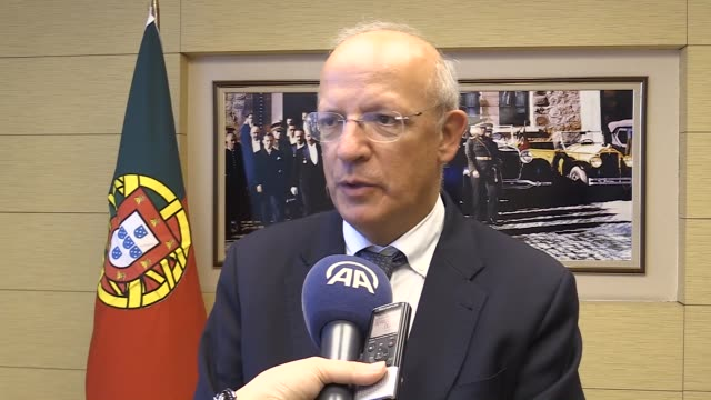 Portuguese Foreign Minister Augusto Santos Silva speaks at an interview in Ankara Turkey on October 18 2017
