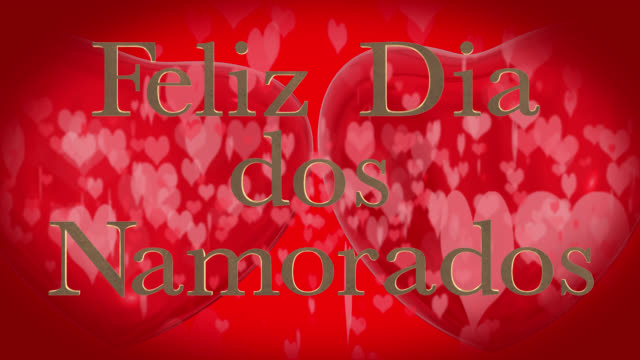 portuguese happy valentine's day phrase, feliz dia dos namorados with two beating 3d red hearts and moving heart shaped particles are in the red background - dia stock videos & royalty-free footage
