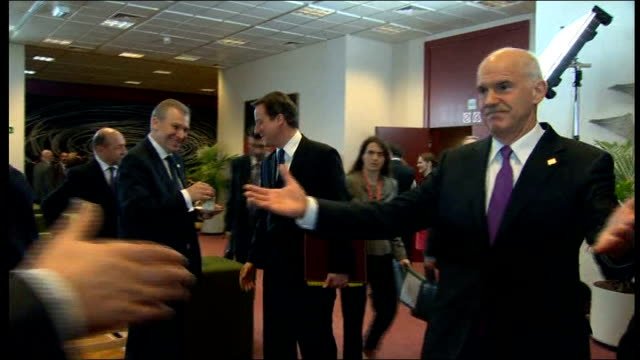 portuguese mps reject spending cuts; belgium: brussels: ext socrates arriving for summit with eu leaders int george papandreou along to greet... - president of france stock videos & royalty-free footage