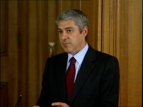 portuguese prime minister jose socrates visits downing street press conference and photocall socrates response sot i agree with you and i see no... - madeleine mccann stock videos & royalty-free footage