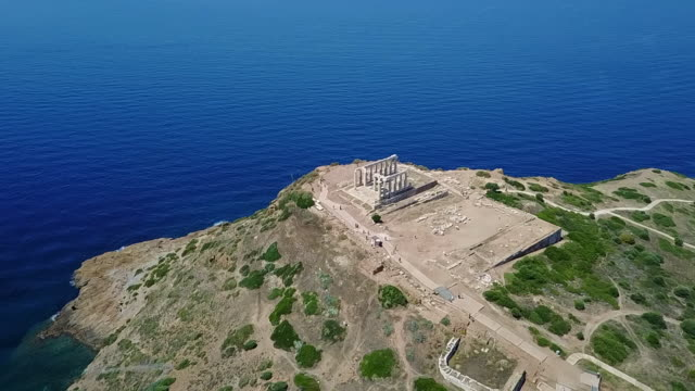poseidon temple aerial view. - athens greece stock videos & royalty-free footage