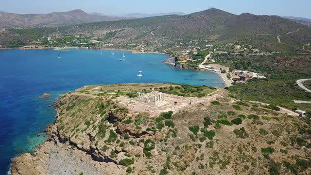 poseidon temple aerial view. - sounion stock videos and b-roll footage
