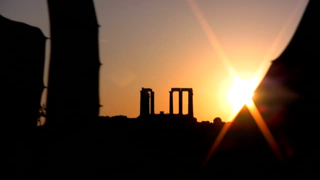 poseidon temple in cape sounion - sounion stock videos and b-roll footage