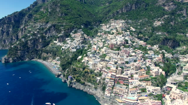 positano, aerial view. amalfi coast, italy - mediterranean culture stock videos and b-roll footage