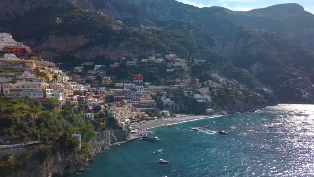 positano bay italy - moving aerial drone shot - mediterranean culture stock videos & royalty-free footage