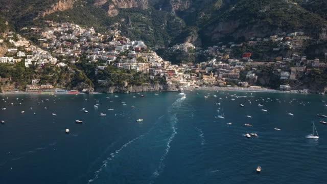 Positano Bay Italy - Moving Aerial Drone Shot