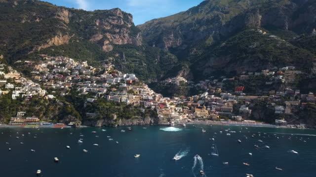Positano Bay Italy - Moving Aerial Shot