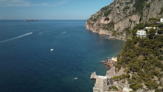 Positano Torre del Fornillo - Moving Aerial Drone Shot