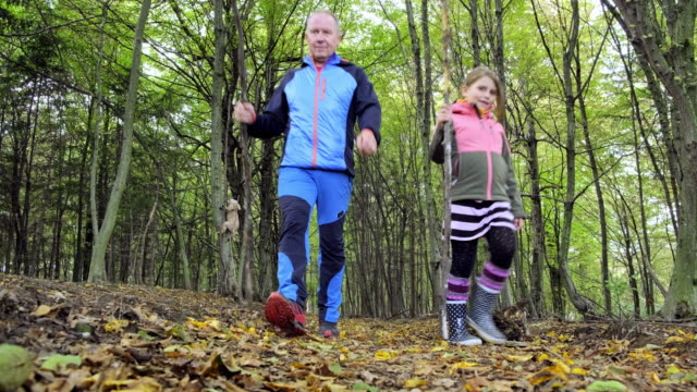 positive father and daughter relaxing in autumn forest - modern manhood stock videos & royalty-free footage