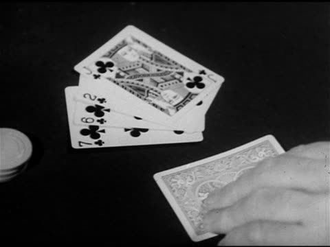gambling poker possible 'flush' cards facing up on table one card face down male hand turning card over reveals 10 of diamonds vo 'jack o'diamonds'... - card table stock videos & royalty-free footage