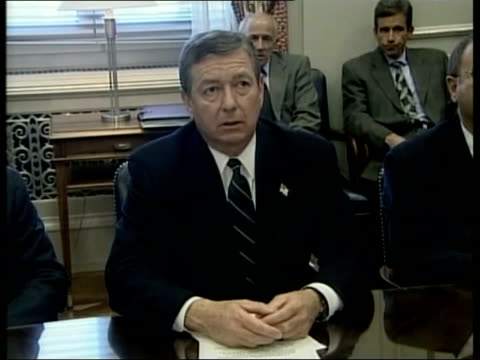 possible link to osama bin laden; pool via aptn int john ashcroft press conference sot - we believe that there may be other envelopes / but if you... - attorney general stock videos & royalty-free footage