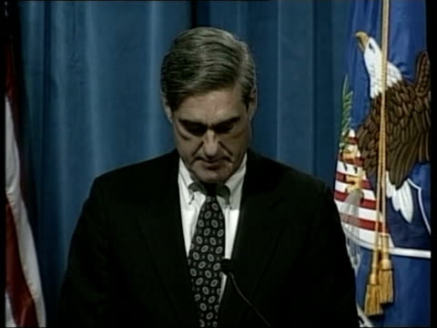 possible link to osama bin laden pool robert mueller press conference sot every threat is taken seriously and receives a full response / we have no... - reuters stock videos & royalty-free footage