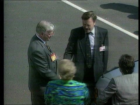 stockvideo's en b-roll-footage met possible police reorganisation ext/may 1992 yorkshire scarborough kenneth clarke mp out car zoom in as meets police fed rep ms clarke with others pan... - scarborough engeland