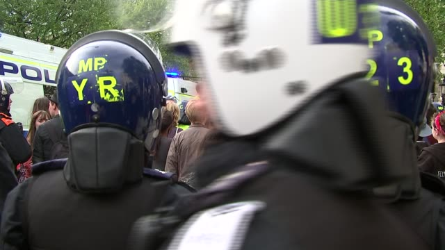 Post 2015 general election roundup ENGLAND London Downing Street EXT Various GVs Anti austerity protesters at gates of Downing Street and police...