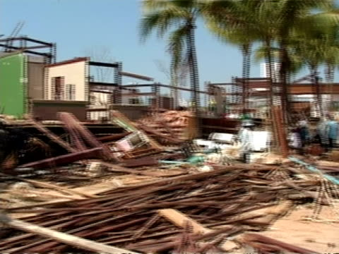 MS Post Boxing Day 2004 Tsunami, pan left across building destruction, Khao Lak, Thailand