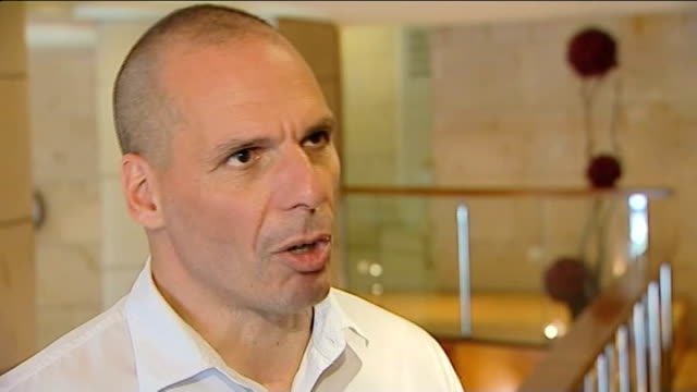 attempt to form coalition government committed to Eurozone bail out INT Yanis Varoufakis interview SOT Reporter to camera