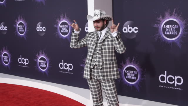 post malone at the 2019 american music awards at microsoft theater on november 24 2019 in los angeles california - american music awards stock videos & royalty-free footage