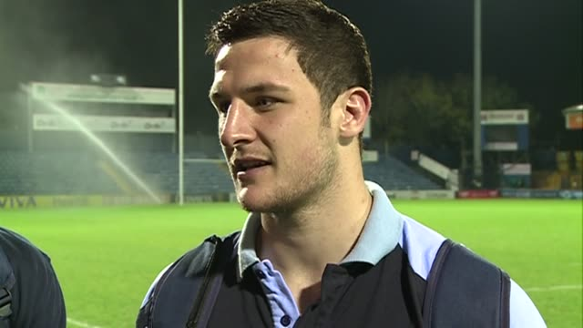post match interview with sales sharks players mark cueto and try scorer tom brady and lee imiolek following their defeat by leicester tigers sales... - scoring stock videos & royalty-free footage