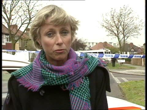 post office robbers shot; england, london, harrow, rayners lane twyford rd robbers' crashed car and guns on road rowe i/c: air views rayners lane... - harrow stock videos & royalty-free footage