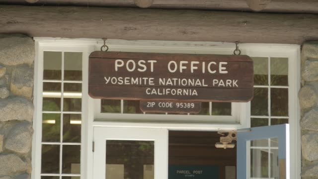 us post office sign at yosemite national park, unesco world heritage site, california, usa, north america - post office stock videos & royalty-free footage