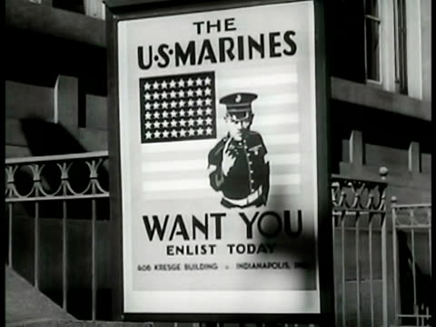 post office w/ young adult men walking toward recruiting posters navy marines cu chart w/ total of indiana's navy enlistment numbers int navy... - military recruit stock videos & royalty-free footage