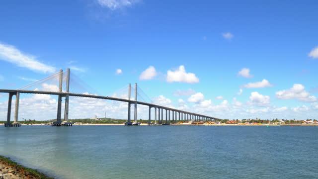 postacard of natal, newton navarro bridge, rio grande do norte, brazil - cable stayed bridge stock videos & royalty-free footage