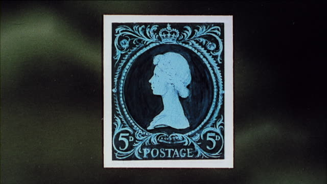 montage postage stamps of the queen's profile with crown / united kingdom - briefmarke stock-videos und b-roll-filmmaterial