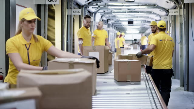 DS Postal employees sorting parcels on the conveyor belt