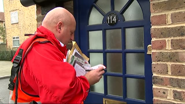 postal group whistl suspends deliveries in manchester liverpool and west london lib bow ext royal mail postman delivering letters - mail stock videos and b-roll footage