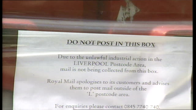 liverpool sorting office itn england liverpool ext 'do not post in this box' sticker over post box slot pull out / post box with stickers sealing... - mailbox stock videos and b-roll footage