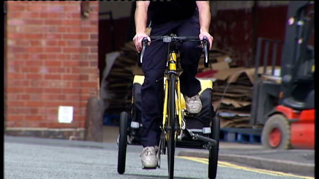 Postal strike provides opportunities for courier firms Birmingham Postal workers on picket line Graham Evans interview SOT Various views of Cycle4U...