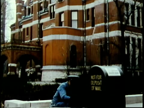 1963 montage postal worker collecting from mailbox on university of chicago campus / chicago, united states / audio - mailbox stock videos and b-roll footage