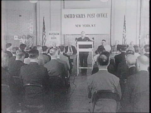 postal workers practice finger printing / at a meeting at the us post office in new york city attendees ask director of alien registration earl g... - 1940 stock videos & royalty-free footage