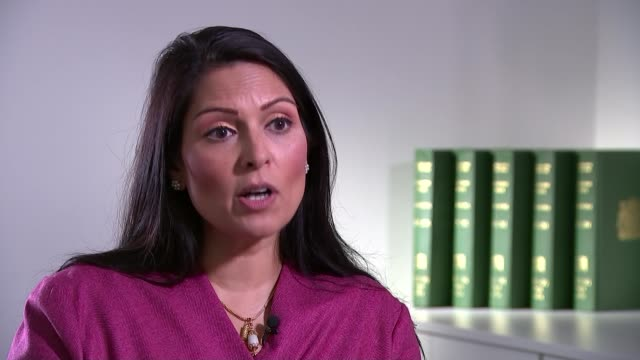 vídeos de stock e filmes b-roll de post-brexit immigration plan will deny visas to low-skilled workers; england: london: int priti patel mp interview sot scarborough: int gv corina... - scarborough reino unido