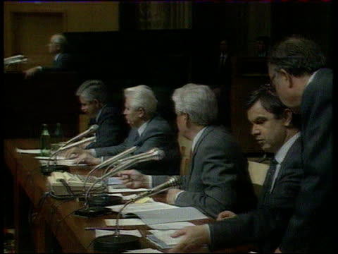 postcoup situation/collapse of the communist party lib russian house of soviets ms silayev next yeltsin at top table as gorbachev at podium in b/g - communist party stock videos and b-roll footage